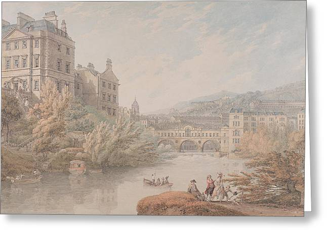 Graphite Paintings Greeting Cards - View of Bath from Spring Gardens  Greeting Card by Thomas Hearne