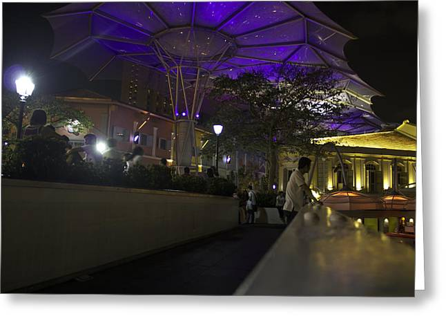 Night Greeting Cards - View of blue canopy at Clark Quay from a bridge Greeting Card by Ashish Agarwal