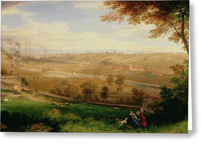 1849 Greeting Cards - View of Bradford Greeting Card by William Cowen
