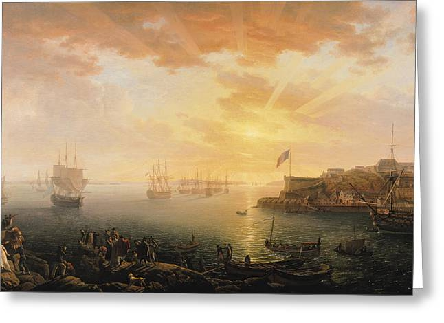 1751 Greeting Cards - View of Brest Harbor Greeting Card by Jean Francois Hue