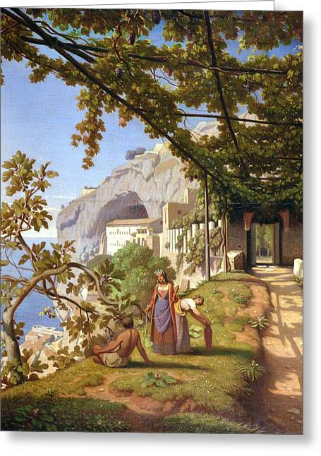 Grape Leaf Greeting Cards - View of Capri Greeting Card by Theodore Aligny