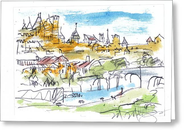 Summer Scene Drawings Greeting Cards - View of Carcassone France Greeting Card by Marilyn MacGregor
