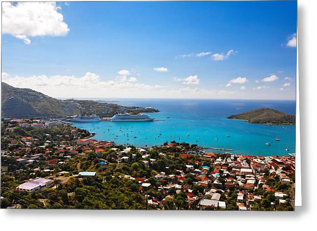 Ocean Panorama Greeting Cards - View of Charlotte Amalie St Thomas US Virgin Islands Greeting Card by George Oze