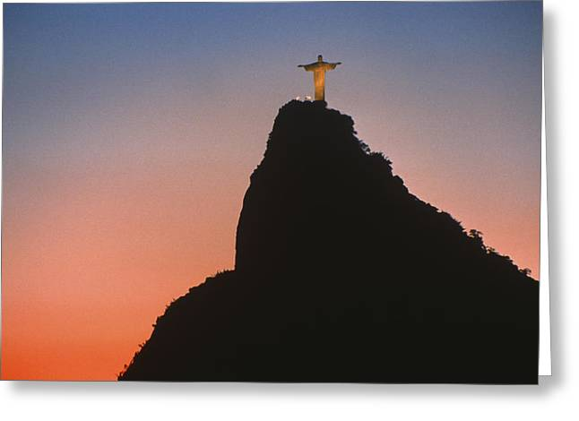 World Wonder Greeting Cards - View of Christ the Redeemer  Greeting Card by Anonymous