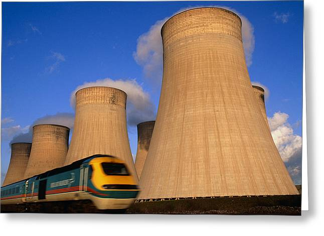 Carbon Emissions Greeting Cards - View Of Cooling Towers And High Speed Train Greeting Card by Jeremy Walker