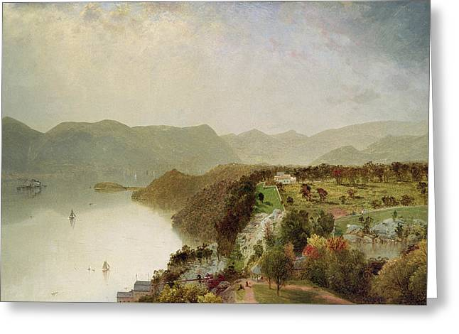 View Of Cozzen's Hotel Near West Point Ny Greeting Card by John Frederick Kensett