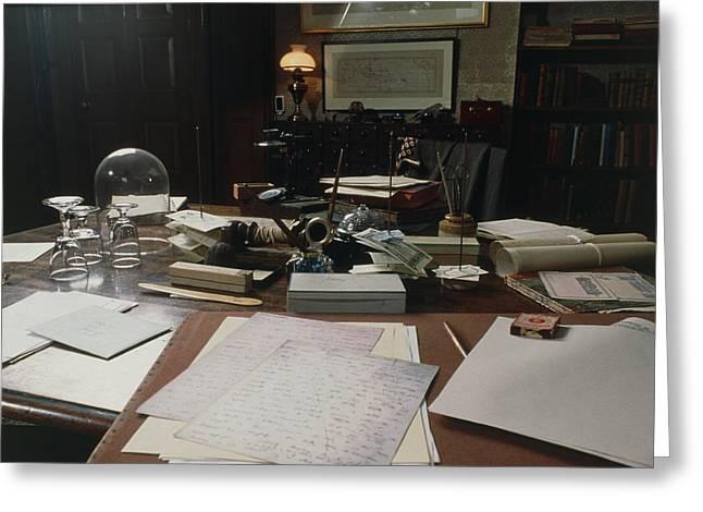 View Of Darwin's Desk At Down House Greeting Card by Volker Steger