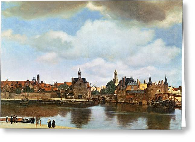 Village Views Greeting Cards - View of Delft Greeting Card by Jan Vermeer