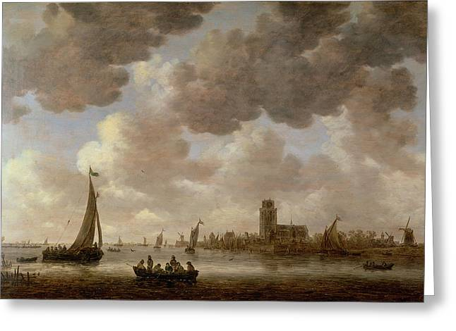 Boats In Water Greeting Cards - View of Dordrecht Downstream from the Grote Kerk Greeting Card by Jan Josephsz van Goyen