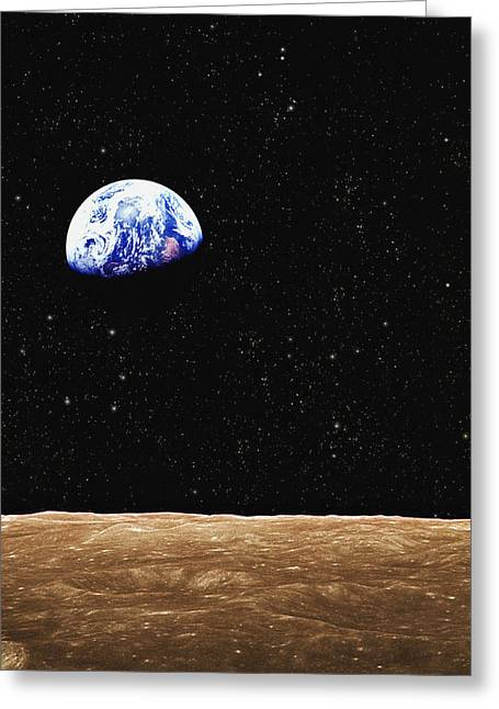 Maps Globes And Flags Greeting Cards - View Of Earth From The Moons Surface Greeting Card by Don Hammond