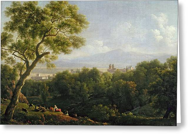 Village Views Greeting Cards - View of Frascati Greeting Card by Jean Bidauld