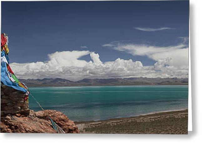View Of Freshwater Lake Manasarovar Greeting Card by Phil Borges