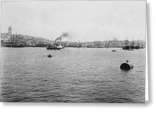 Galata Greeting Cards - View of Galata and Istanbul - between 1880-1893 Greeting Card by International  Images