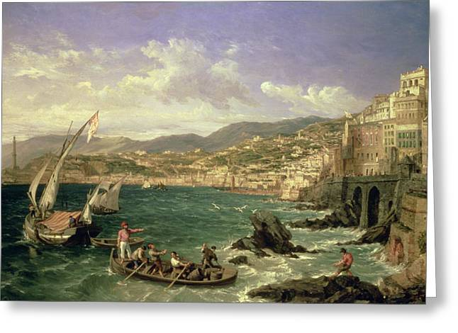 Landing Paintings Greeting Cards - View of Genoa Greeting Card by William Parrott