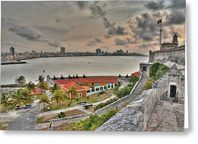 Morro Castle Greeting Cards - View of Havana from Morro Castle. Cuba Greeting Card by Juan Carlos Ferro Duque