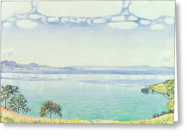 Lake Geneva Greeting Cards - View of Lake Leman from Chexbres Greeting Card by Ferdinand Hodler