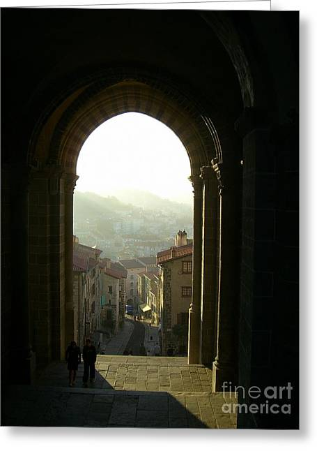 Lainie Wrightson Greeting Cards - View of Le Puy en Velay Greeting Card by Lainie Wrightson