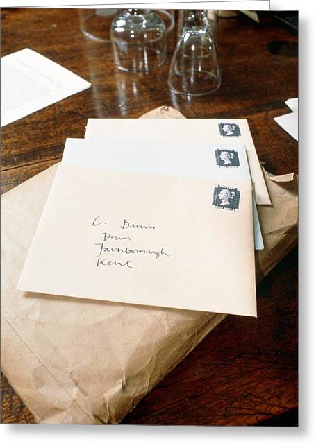 Darwin Greeting Cards - View Of Letters Addressed To Darwin On His Desk Greeting Card by Volker Steger