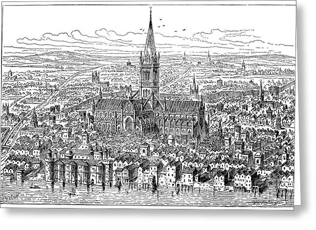 1540 Greeting Cards - View Of London, 1540 Greeting Card by Granger