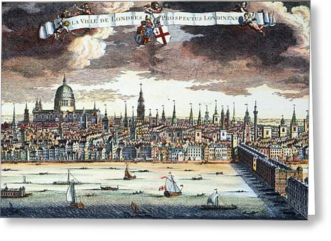 Engraving Greeting Cards - View Of London, 1707 Greeting Card by Granger