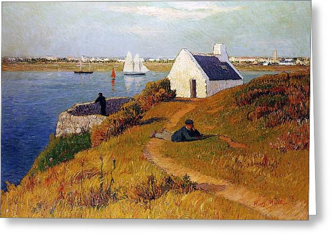 Country Cottage Greeting Cards - View of Lorient in Brittany Greeting Card by Henry Moret