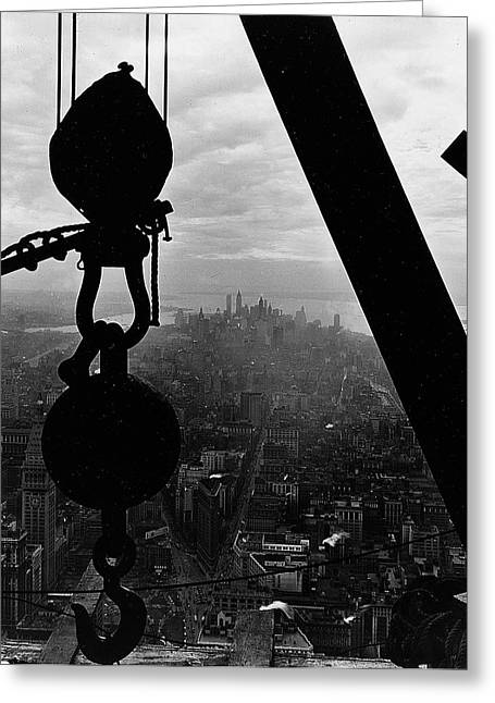 Historical Buildings Photographs Greeting Cards - View of Lower Manhattan from the Empire State Building Greeting Card by LW Hine