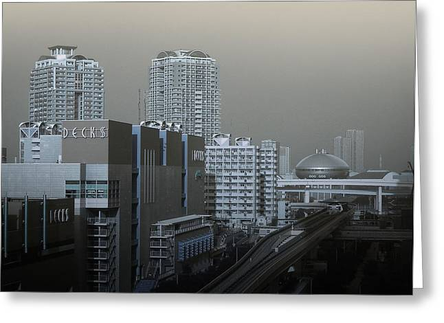View Of Modern Tokyo Greeting Card by Naxart Studio