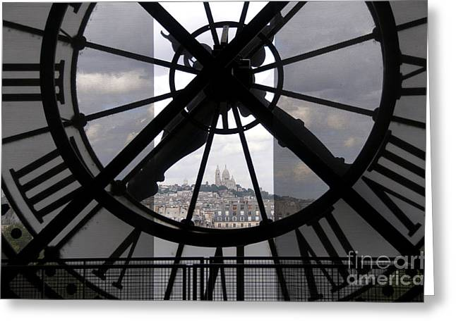 Train Stations Greeting Cards - View of Montmartre through the clock at Museum Orsay.Paris Greeting Card by Bernard Jaubert
