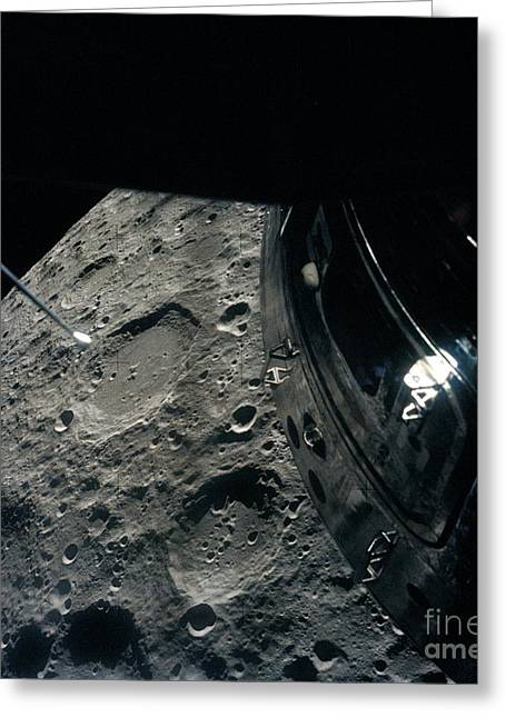 Apollo Program Greeting Cards - View Of Moon From Apollo 13 Greeting Card by Nasa