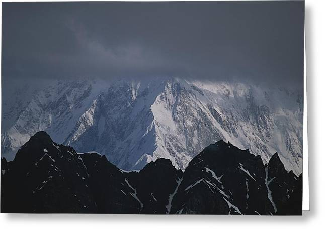 Light And Dark Greeting Cards - View Of Mount Foraker, Alaska Greeting Card by John Burcham