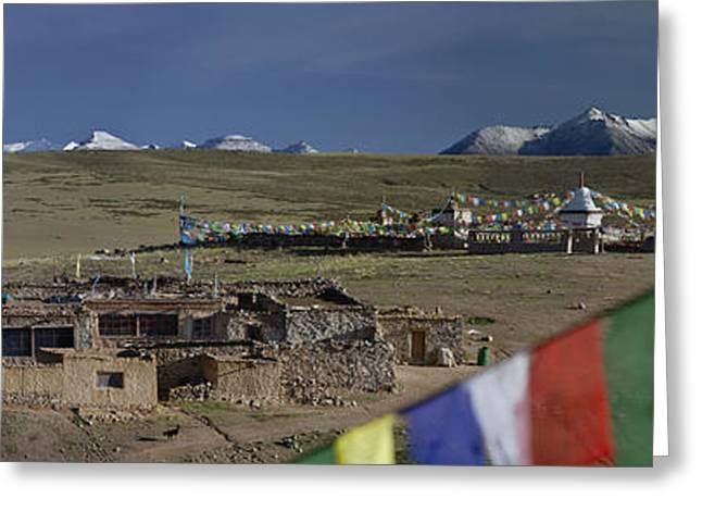 Tibetan Buddhism Greeting Cards - View Of Mount Kailash From Chiu Greeting Card by Phil Borges