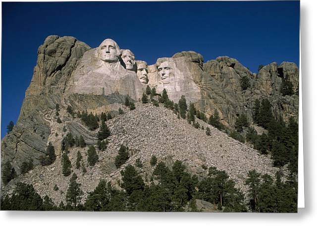 American Presidents And Prime Ministers Greeting Cards - View Of Mount Rushmore Over The Tree Greeting Card by Marcia Kebbon