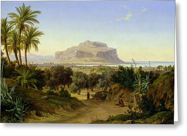 Sea View Greeting Cards - View of Palermo with Mount Pellegrino Greeting Card by August Wilhelm Julius Ahlborn