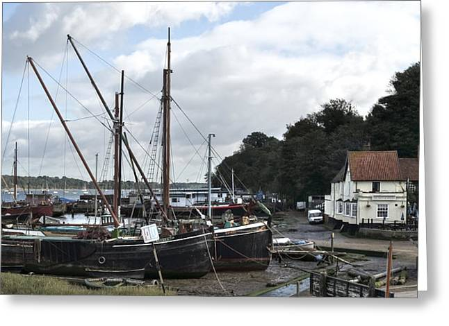 View Of Pin Mill From King's Yard Greeting Card by Gary Eason