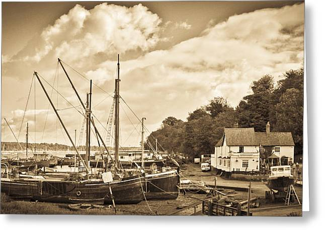 View Of Pin Mill From King's Yard Sepia Greeting Card by Gary Eason