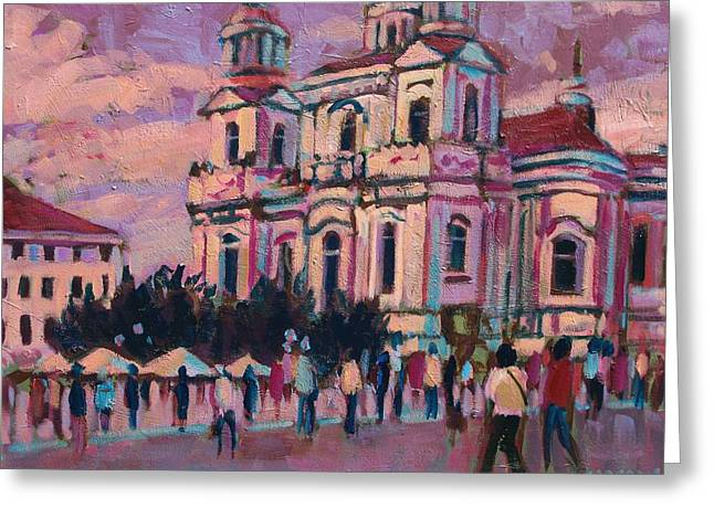 Prague Paintings Greeting Cards - View Of Prague Greeting Card by Brian Simons