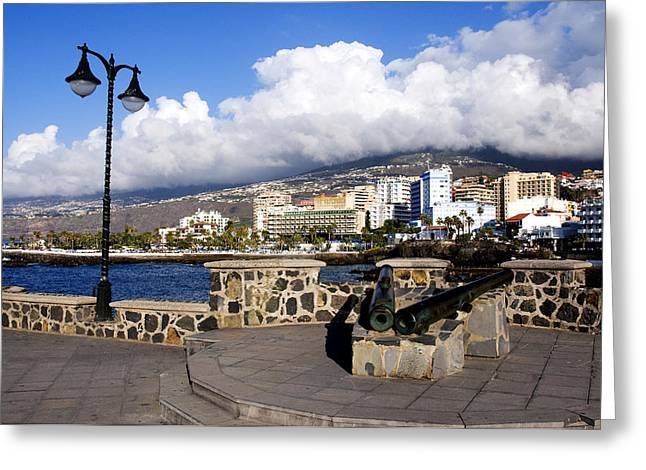 Locations Greeting Cards - View of Puerto de la Cruz from Plaza de Europa Greeting Card by Fabrizio Troiani