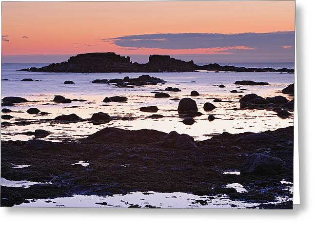 Descriptors Greeting Cards - View Of Rock And Sea At Twilight, Lanse Greeting Card by Yves Marcoux