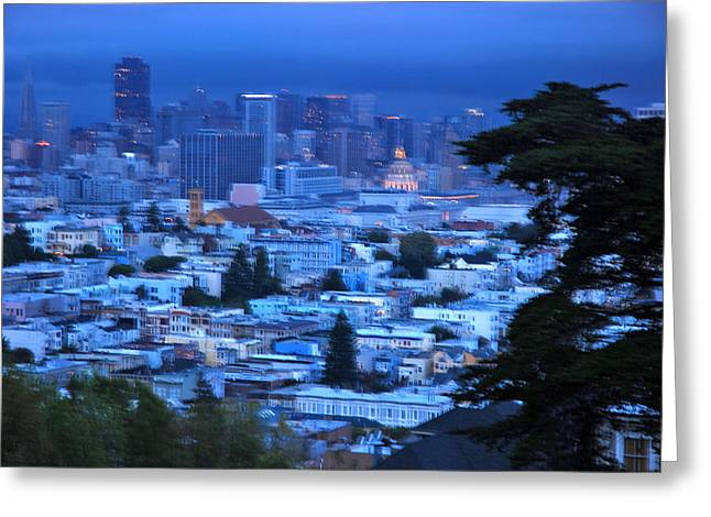 City Lights And Lighting Greeting Cards - View Of San Francisco From Buena Vista Greeting Card by Raymond Gehman