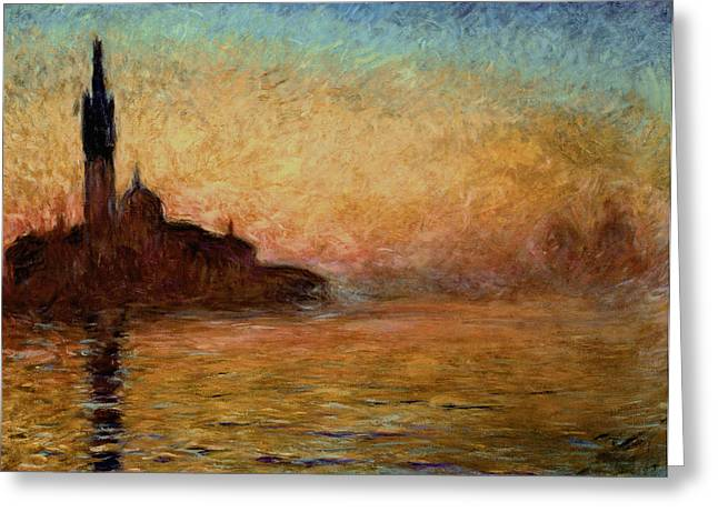 River View Greeting Cards - View of San Giorgio Maggiore Venice by Twilight Greeting Card by Claude Monet