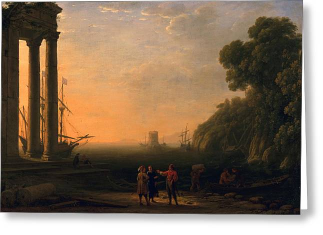 Sunset Scenes. Greeting Cards - View of Seaport Greeting Card by Claude Lorrain