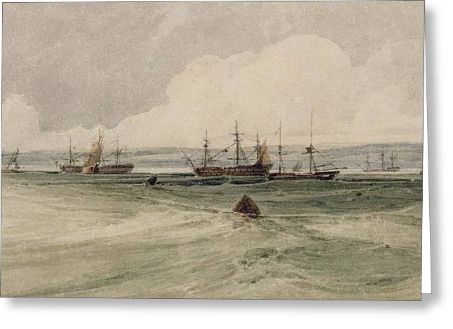 Graphite Paintings Greeting Cards - View of Sheerness Greeting Card by Francois Louis Thomas Francia