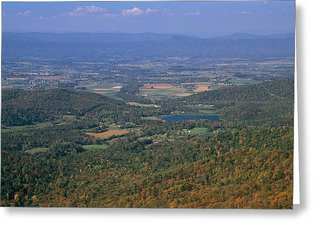 Park Scene Greeting Cards - View Of Shenandoah Valley And The Town Greeting Card by Raymond Gehman