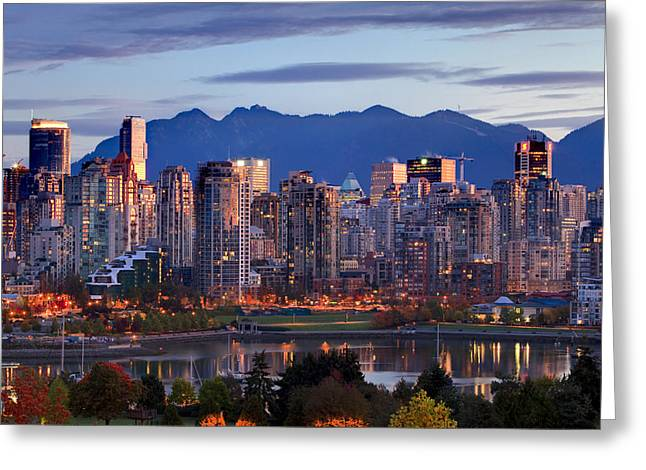 View Of Skyline With Yaletown, False Greeting Card by Ron Watts