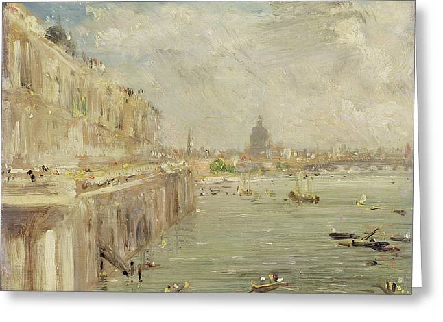 Constable Paintings Greeting Cards - View of Somerset House Terrace and St. Pauls Greeting Card by John Constable
