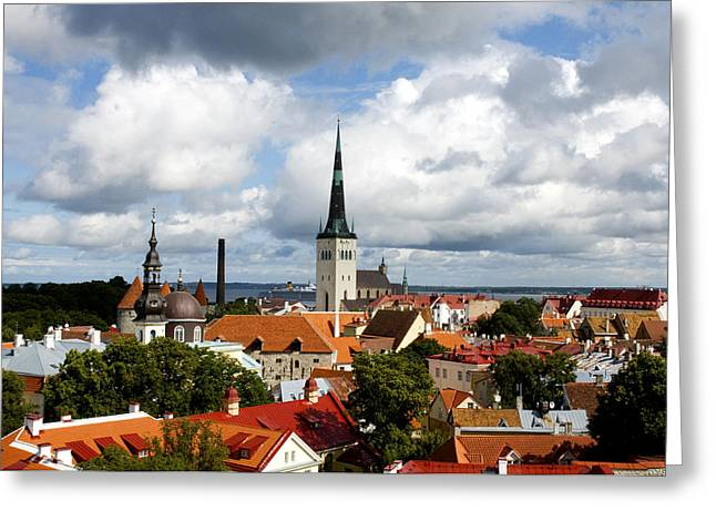 Rooftops Greeting Cards - View of St Olavs Church Greeting Card by Fabrizio Troiani