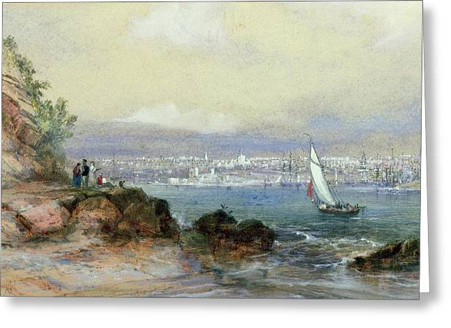 Sea View Greeting Cards - View of Sydney Harbour Greeting Card by Conrad Martens