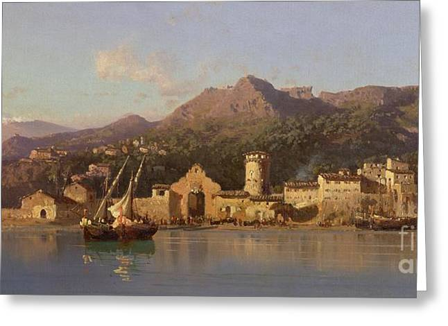 Harbour Wall Greeting Cards - View of Taormina Sicily Greeting Card by Alessandro la Volpe
