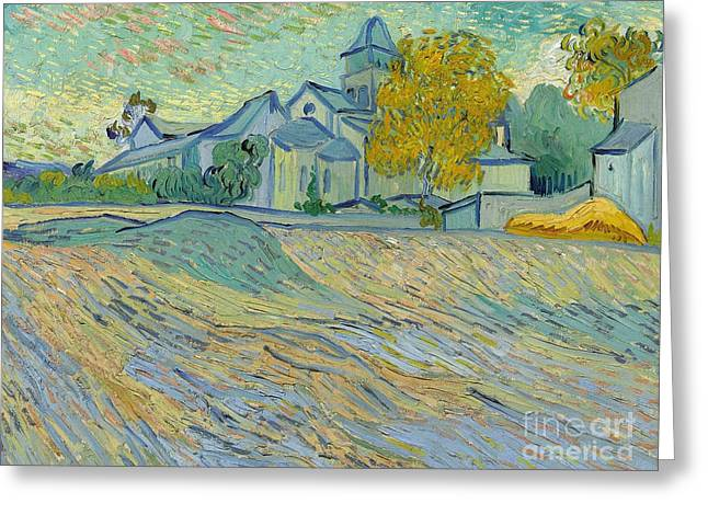 Asylum Greeting Cards - View of the Asylum and Chapel at Saint Remy Greeting Card by Vincent Van Gogh