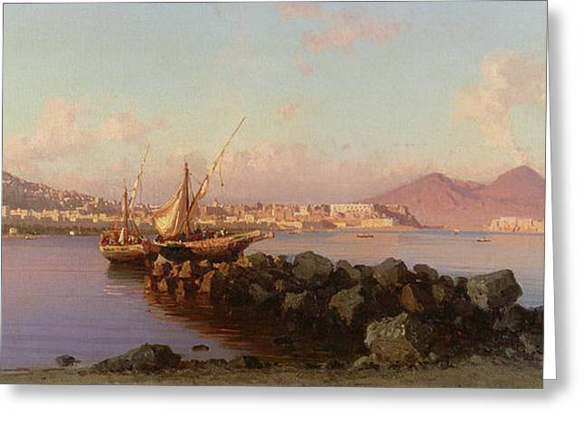 Sea View Greeting Cards - View of the Bay of Naples Greeting Card by Alessandro la Volpe